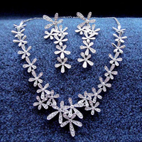 The bride accessories gift set chain sets formal dress banquet wedding dress jewelry accessories flower rhinestone necklace z