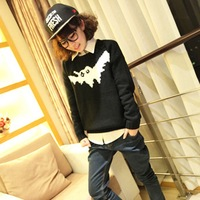 2012 winter topshop fashion black pattern pullover loose sweater women's