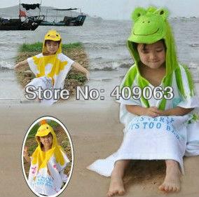 4pcs/lot cartoon baby bathrobe kid's beach towel children's cloak baby hooded towel bathing wear free shipping