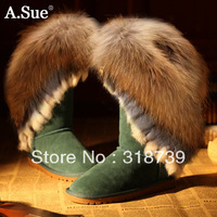 Free shipping, rabbit fur/fox fur women's shoes, high-leg boots genuine leather