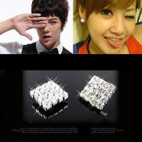 0190 accessories full rhinestone sparkling rhinestone brief capitales elegant stud earring
