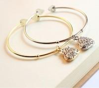 0126 small accessories brief women's rhinestone heart pendant bracelet