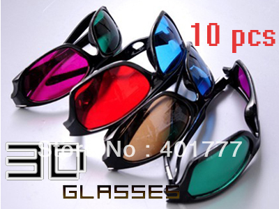 Free ship Mixed 10pcs Re-useable Plastic Frame Resin Lens Anaglyphic 3D Glasses BLUE+RED|RED+GREEN|BLUE+BROWN|GREEN+RED(China (Mainland))