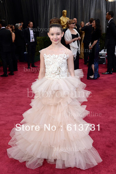 2013 The 85th Annual Academy Awards Fatima Ptacek Bateau Cap Sleeve Pageant Flower Girl Oscar Celebrity Dresses