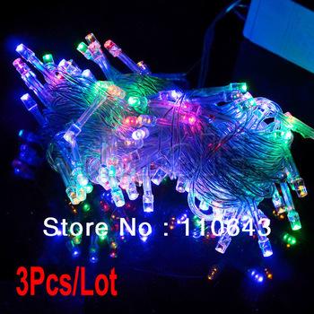 3Pcs/Lot Multicolour 100 LED String Light 10M 220V Decoration Light for Christmas Party Wedding  TK0200
