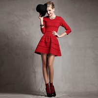 2013 New Arrivals Crown-princss fashion high quality brief slim small red one-piece dress puff skirt free shipping!!!