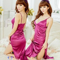 Free Shipping Sexy Charming Purple Smooth Long Robe nightgown Fashion Abaya for Ladies