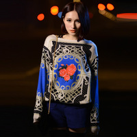 Mr . zz fashion new  baroque royal family 2012 elegant loose vintage sweater free shipping