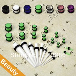 23 Pc Ear Taper+ PLUG Kit 14G-00G 1.6mm-10mm Gauges Expander Set Stretchers Free Shipping 9188(China (Mainland))