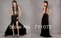 Most Beautiful Sexy Designer High Low Chapel Train Chiffon Applique Lace Beaded Sexy Evening Dress 2013