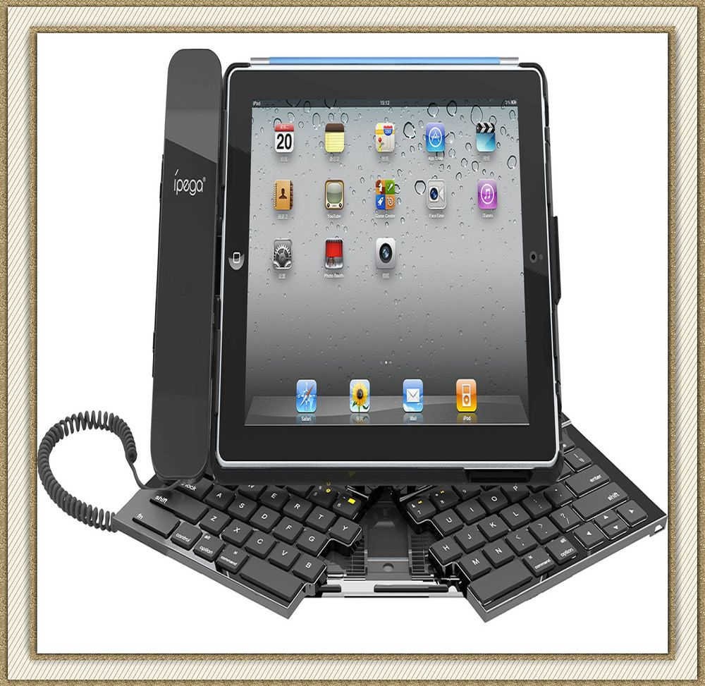 Famous Brand Ipega Foldable bluetooth keyboard With Headset Design For Ipad 2&amp;Ipad 3 Can use for talk and view chat Free Ship(China (Mainland))