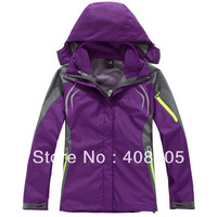 High Quality Female Outdoor Double Layer 2in1 Waterproof Climbing Skiing Jackets Windbreaker PIZEX