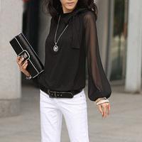 2014 autumn women's lantern sleeve mm loose chiffon long-sleeve T-shirt
