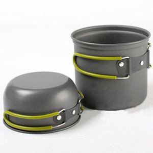 New Camping Cookware Hiking Backpacking Cooking Picnic Foldable Pot Pan Bowl Set Free Shipping