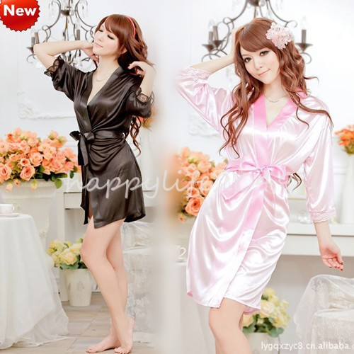 Sexy lingerie Mike Silk robe dress+g string set sleepwear costume sexy sleepwear, sexy kimono, and sexy uniform S001(China (Mainland))