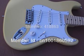 Free Shipping F Stratocaster Custom Shop Scallop Fretboard with Synchronized Tremolo Cream Yellow usa Electric Guitar
