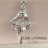 C54b 2014 Trendy Gift Wholesale 10 pcs Crystal Ballerina Dancing Lady DIY Charms Pendants