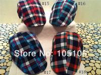 2013 Fashion Kids Grid Hats Berets Chilidren Spring Hats Girls Boys Girls Caps Baby Cap Mix Colors