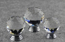 NEW free shipping 10x 30mm Crystal Clear ROUND Cabinet Knob Drawer Pull Handle Kitchen Door Wardrobe Hardware(China (Mainland))