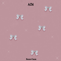 DIY 3D Alloy Rhinestones Jewelry White Bow Tie Nail Art Glitter Decorations #A24