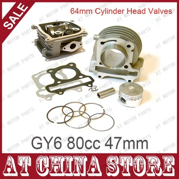 GY6 80cc 47mm Scooter Engine Rebuild Kit Big Bore Kit Cylinder Kit Cylinder Head assy for  4-stroke 139QMB 139QMA Moped Scooter