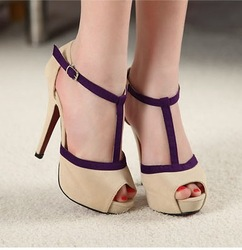 Vogue NEW Sexy Buckle Peep Toe Women Fashion Shoes Stiletto High Heels Pump Sandal HRQ133 Free Shipping(China (Mainland))