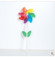 free shipping 20pcs/lot fashion 18cm Colorful windmill,with leaf and wooden handle,children's toys