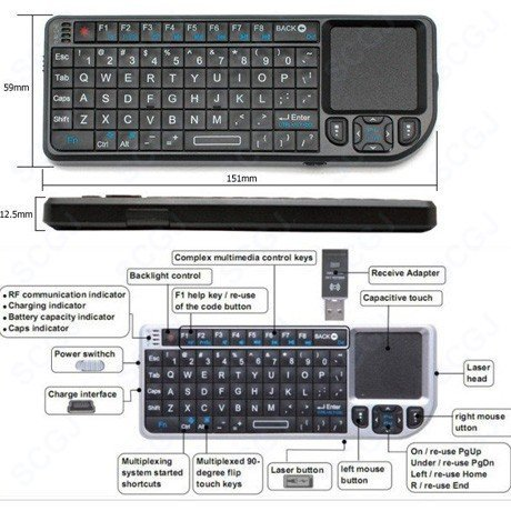 Wholesale Free shipping Bluetooth Wireless PC Mini  Keyboard Google TV Media Control Touchpad for ps3(black)