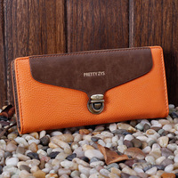 2012 wallet women's wallet color block wallet long design wallet hasp litchi wallet coin purse