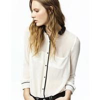 Free Shipping Fashion All-match Elegant Detachable Black-and-white Color Block Long-sleeve Chiffon Shirt Female