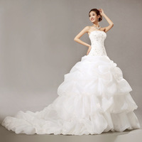 Bright diamond royal princess super large train bride wedding dress 2012 hs5633