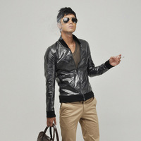 Cool luxury reflective shiny silver fashion men jacket men's clothing stand collar casual outerwear male