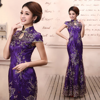 Spring and summer fashion improved cheongsam the bride married long design cheongsam fish tail cheongsam lace q5112