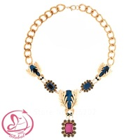 Pl235 High Quality Baroque Sparkling Colorful Gem Insect Necklace Fashion Pendant Necklace Female Necklace  Free Shipping