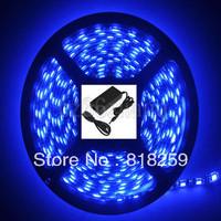 5M PCB Black Waterproof 5050 SMD Blue 300 LED Strip Light 12V 5A Power Adapter