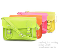 Classic design & fashion candy color! Cute antique style genuine leather woman satchel/handbag (Big)(B0293)