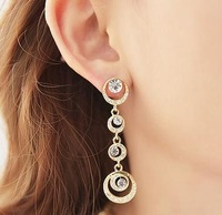 Min order is $15(Mixed order)2013 Fashion  Bridal Accessories Geometric Full Stone Circles  Long Drop Earring  freeshipping