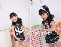 Free shipping 2014 new summer swim wear Children's dot swimning wear girls one pieces+caps so cute Swim wear fashion girls sets