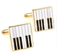 Free shipping 5pairs/lot Gold piano gustless style cufflinks French shirt sleeve mc-236
