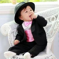 Boys suit baby boy party suit babes 5pcs /sets  boys formal clothing black color Children's Suit free shipping