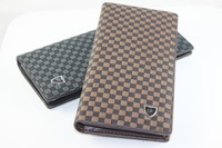 Plaid male bag wallet senior leather Men elegant long design wallet card holder