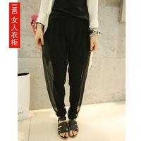 Black elastic waist double layer casual trousers harem pants skinny pants gauze pants chiffon pants female