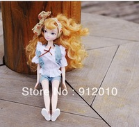 Free Shipping Pretty Golden Curling Jeans Fashion Girl KURHN DOLL 29cm Girl Favorite Toy Great Birthday Gift Well Pakaged
