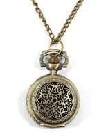 Minimum order 50$ : Vintage small size flower window pocket watch / necklace/jewelry gft accessories R132-22