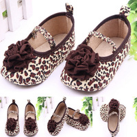 Free Shipping Fashion Leopard Flower Girl Baby Shoes Leopard Printed Shoes Soft Sole Baby Shoes