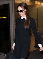 Victoria Beckham most love long sleeve dress turn-down collar fashion brief black winter dress 2014 free shipping