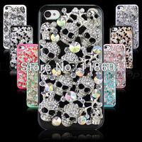 Wholesale 50pcs New Fashion Luxury Metal Skull 3D Diamond Bling Rhinestone Hard Back Cover Skin Case For iPhone 4 4S 4G