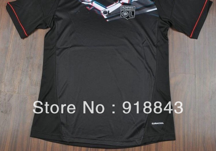Wholesale 12/13 best thai quality lyon away black soccer football jersey, lyon soccer jersey ,size:S/M/L/XL(China (Mainland))
