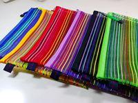 Colorful stripe transparent mesh file bag paper bags storage sundries bag small