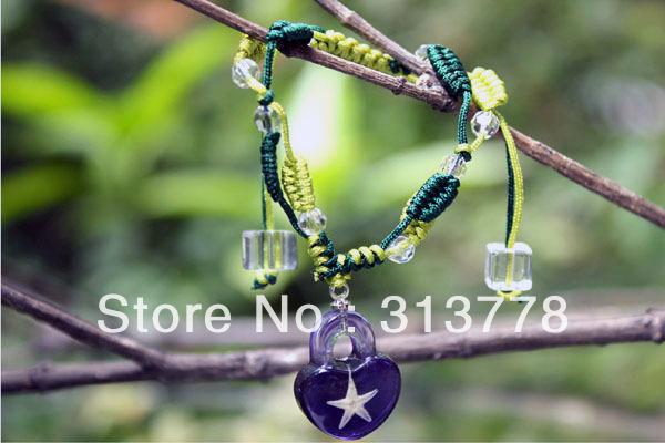 Elegant Crystal & Purple Starfish Amber Bracelet Heart Shape Girls Summer Charm Jewelry 50pcs Mixed Free Shipping Wholesale(China (Mainland))